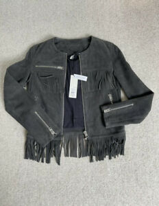 USED TOPSHOP CHARCOAL GREY SUEDE FRINGED JACKET SIZE 12 RRP £185