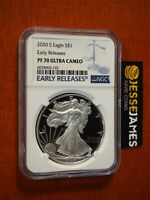 2020 S PROOF SILVER EAGLE NGC PF70 ULTRA CAMEO EARLY RELEASES BLUE LABEL