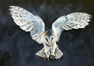 Barn owl in flight print, from my original painting, limited edition,wall art