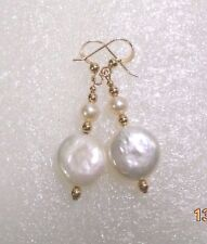 14KT GOLD FILLED/ROLLED GOLD, WHITE  FRESHWATER COIN PEARL DROP EARRINGS