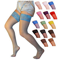 Sensuous Lace Top 20 Denier Sheer Hold Ups Various Colours Sizes S - XL stocking