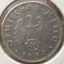 ORIGINAL 1939 NAZI GERMANY - THIRD REICH 50 REICHSPFENNIG PFENNING COIN B SS WW2