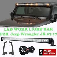 "For Jeep Wrangler JK 07-17 52"" 700W CREE LED Work Light Bar Combo +Mount Bracket"