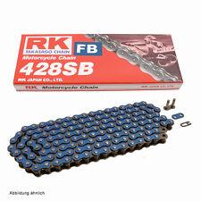 Motorrad Kette BLAU  RK FB428SB mit  134 Rollen und Clipschloss, offen