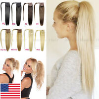 Russian Thick Full Clip In Wrap Around Ponytail Remy Human Hair Extensions AAAAA