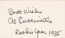 AL CUCCINELLO SIGNED INDEX CARD NEW YORK GIANTS 1935 ROOKIE YEAR