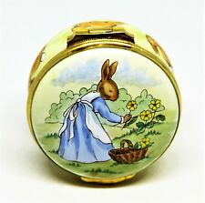 """Crummles English Enamel Box ~ Bunnykins Mother Picking Flowers ~ Le ~ """"As Is"""""""