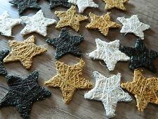 18er Set Sterne Tischdekoration Stern Sisal braun mokka beige 5 cm Streusterne