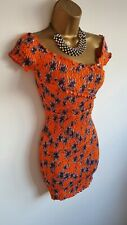 Topshop BNWT Bright Orange White Floral Ruched Mini wrap Bodycon Dress 8-10