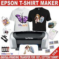 EPSON C88 PRINTER PLUS BUNDLE STARTER KIT T-SHIRT MAKER HEAT TRANSFER COTTON INK