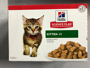 Hills Kitten Chunks In Gravy Selection 48  X 85g Pouches. Free Delivery
