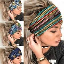 Womens Elastic Wide Turban Headwraps Stretch Headband Sports Yoga Gym Hair-Band