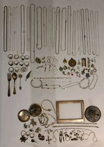 ALL Solid Sterling Silver Wearable Jewelry & Scrap Lot. Necklaces Rings (480.6g)
