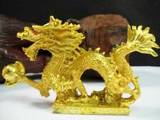 Brass Tone Chinese Oriental Feng Shui Lucky New Year Dragon Figurine Statue #gr2
