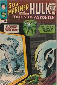 Tales To Astonish # 72 VG Marvel 1965 Hulk & Sub-Mariner