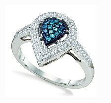 10K White Gold Pear Shape Cluster Ring Blue & White Diamonds -.25ct Halo Design