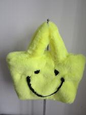 Faux  fur hand bag/ casual bag green bag art/craft bag very soft and warm