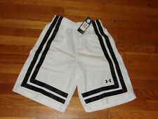 NWT UNDER ARMOUR WHITE/BLACK LOOSE FIT ATHLETIC BASKETBALL SHORTS MENS SMALL