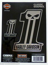 Harley-Davidson Two Dark Custom Skull Chrome Classic Graphix Sticker Decal NEW