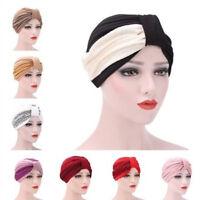 Women's Beanie Scarf Turban Head Wrap Cap India Muslim Ruffle Cancer Chemo Hat