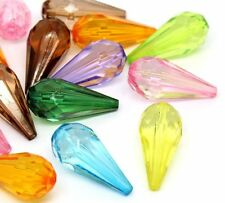 48 Random Mix Acrylic Spacer Beads Teardrop 24x11mm