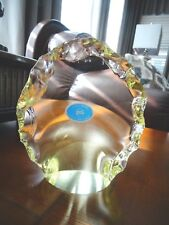 ZBS Zelezny Brod Sklo Art Glass Bohemian ROCK Figurine Paperweight Yellow