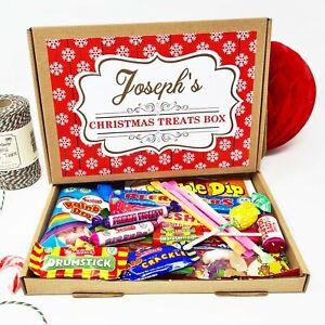 Personalised Christmas Treats Sweets Box Kids Gift Hamper Retro Vegan Stocking C
