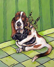 basset hound PLAYING BAGPIPEs DOG art print 8x10