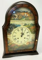 "RARE 14"" FRANZ HERMIE Vintage Burl Duck Hunting Retriever Dogs WORKING Clock"