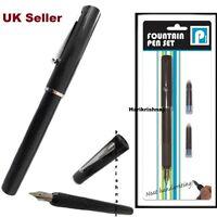 Fountain Pen Black Medium Writing NIB Pens Blue-Ink Office School Stationery