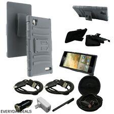 For ZTE WARP ELITE N9518 Rugged Hybrid Stand Belt Clip Holster Case Black + More