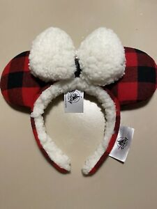 Disney Parks 2019 Buffalo Plaid Red Flannel Minnie Ears Headband