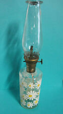 Vintage Small Oil Lamp, Clear Glass with Daisy Flowers 10""
