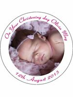 60 PRE-CUT EDIBLE WAFER CUP CAKE CAKE TOPPERS PERSONALISED BAPTISM CHRISTENING