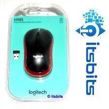 LOGITECH M185 RED BLACK WIRELESS MINI MOUSE NANO USB RECEIVER SUIT WIN 10/8  MAC