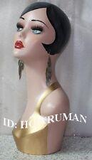 hand-painted vintage retro head mannequin manikins 4 wig jewelry earing display