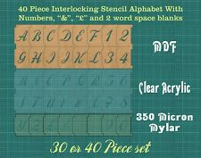 40 Italic 40mm Interlocking Alphabet Stencil inc £-&-spacers & Numbers ISA002