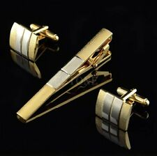 Elegant Men Gold Necktie Tie Bar Clasp Clip Cufflinks Sets Simple Party Gift