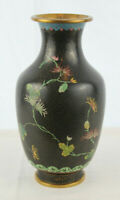 "EXCELLENT QUALITY LARGE CHINESE CLOISONNE VASE W/ PEONY FLOWERS - 9"" Tall"