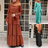 Women Long Sleeve Casual Loose Maxi Kaftan Baggy Abaya Muslim Flare Tiered Dress