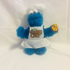 2005 Sesame Street Cookie Monster Blue Plush Toy Cookie Chef Apron and Hat 16""