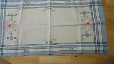 """VINTAGE EMBROIDERED TABLE RUNNER PLACEMAT 29"""" x 15"""" blue stripe no stains"""