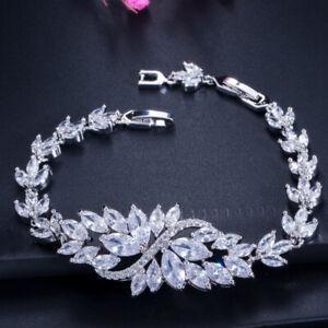 Wedding Flower Jewelry Genuine White Fire Topaz Gems Silver Charming Bracelets