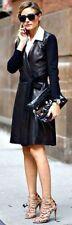 Size 8 Diane von Furstenberg Black Leather Combo Wrap Dress NWT