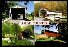 Amish Country Postcard Wooden Covered Bridges Dutch History Folklore