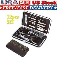 12pcs Nail Care Cutter Cuticle Clippers Mini Pedicure Manicure Tool Kit Set US