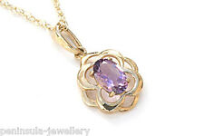 "9ct Gold Amethyst Celtic Pendant and 18"" Chain Gift Boxed Necklace Made in UK"