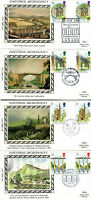 4 JULY 1989 INDUSTRIAL ARCH G/PAIRS ALL 4 BENHAM SMALL SILK VLE FIRST DAY COVERs