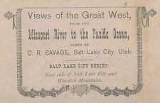 ANTIQUE GREAT WEST SALT LAKE CITY WASATCH C.R. SAVAGE LDS FINE STEREOVIEW PHOTO
