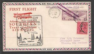 USA 1930 SOUTHERN TRANS CONTINENTAL FIRST FLIGHT COVER TO NEW ZEALAND (U)